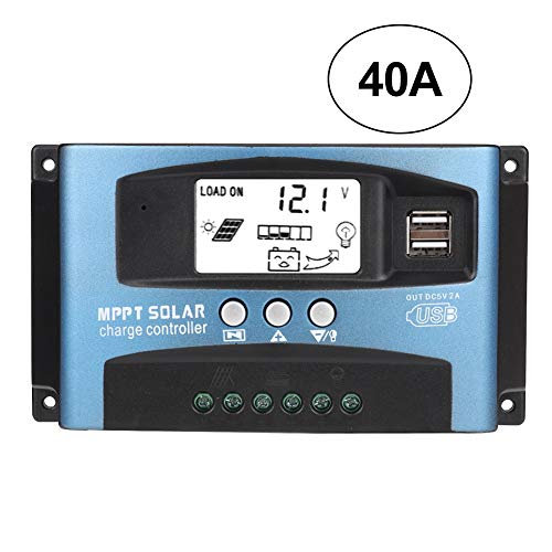 Controlador de carga solar, MPPT 40/50/60/100A Cargador de batería solar Regulador de carga Controladores de panel Pantalla LCD USB dual 12V 24V Para paneles solares(40A)