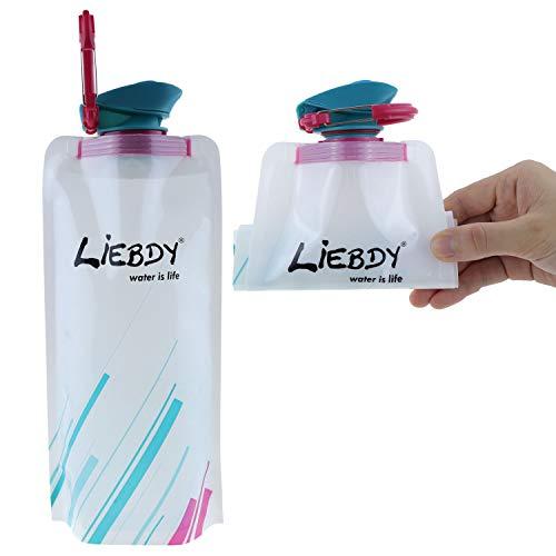 Liebdy® Botella de Bebida Plegable de 700 ml, sin BPA, con Tapa hermética + mosquetón, Bolsa de Bebida Flexible para Deportes, Acampada, Senderismo, Festivales I Blanco