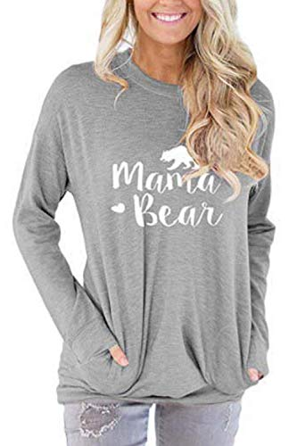 ALBIZIA Women's Mama Bear Sweatshirt Tunic Blouse with Pocket 2XL Light Grey