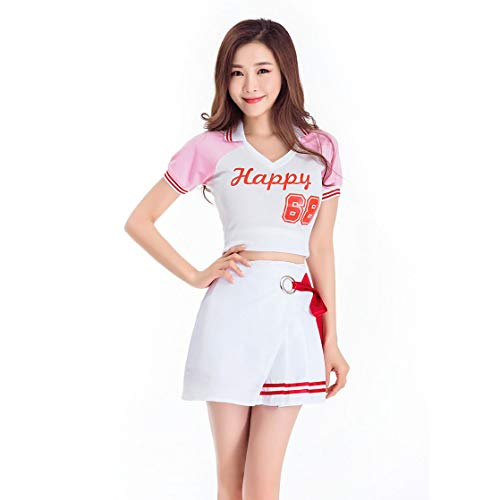 Dames College Wind High School Meisjes Muzikale cheerleader uniform, Vrouwen korte mouwen shirt rok pak voetbal muziek dance uniform, Halloween party stage cosplay kostuum