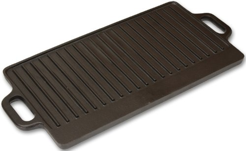 Andes Double Sided Cast Iron Griddle Plate with Handles, Ribbed Grill Pan/BBQ Skillet for Camping, 50 x 23cm