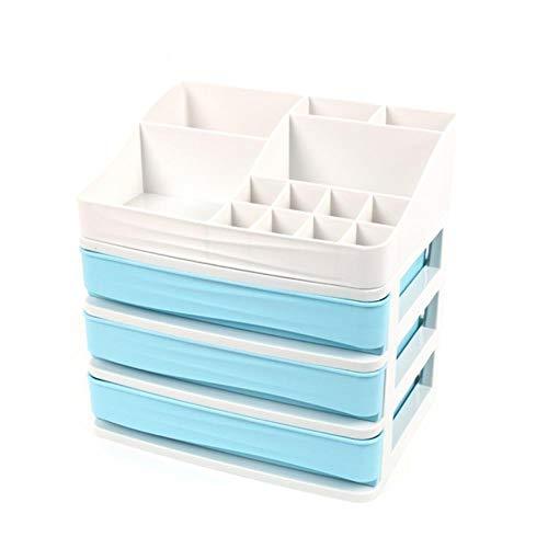 Qingb Plast Kosmetisk Förvaringslåda Smycken Nagellack Smink Behållare Kosmetisk Låda Hem Kontor Skrivbord Sverige Organiserare, Blå Tre Lager Låda