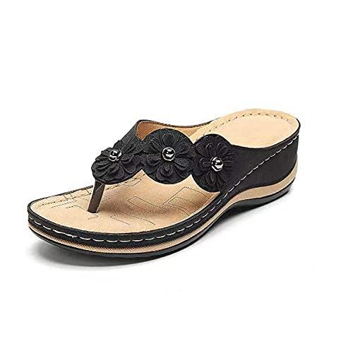FAYHRH Zapatos de Interior Al Aire Libre Zapatilla,Sandalias de Gran tamaño, Sandalias y Pantuflas de Verano para Damas de Verano con tacón Plano y Pendiente-Black_35
