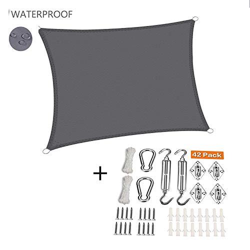 XXJF Toldo Vela De Sombra Toldo Protección UV para Resistente E Lmpermeable,toldo Vela De para Jardín Patio Piscinas Exteriores Jardín (Color : Gray, tamaño : 2.5x3.5m)