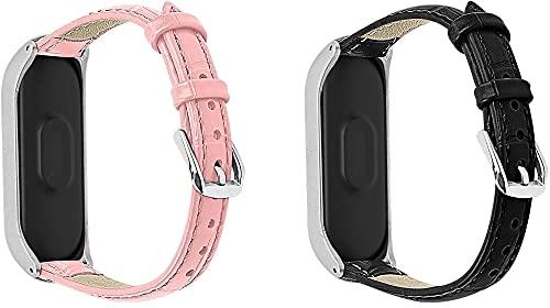 Classicase Compatible con Xiaomi Mi Band 3 / Mi Band 4 / Mi Smart Band 4 / Mi Fit Band 4 Correa de Reloj De Cuero para Mujer (Pattern 5+Pattern 6)