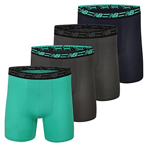 New Balance Malla estándar para hombre de 12,7 cm con calzoncillos tipo bóxer (4 unidades), imán/cielo esmeralda/equipo azul marino/imán, XL