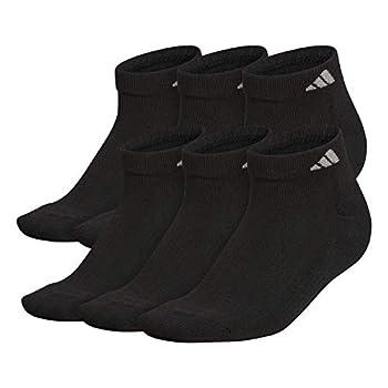 adidas Men s Athletic Cushioned Low Cut Socks  6-Pair  Black/Aluminum 2 Large  Shoe Size 6-12