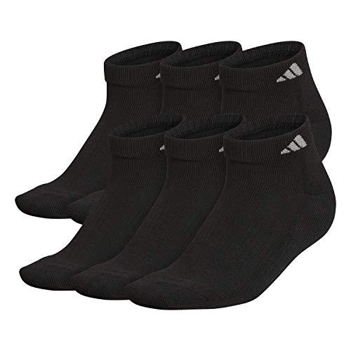 adidas Men's Athletic Cushioned Low Cut Socks (6-Pair), Black/Aluminum 2, Large, (Shoe Size 6-12)