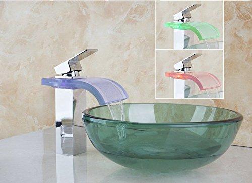 Gowe Nouvelle Belle LED Chrome Robinet et vert de salle de bain avec lavabo Vessel robinet Toilettes Verre Lavabo Définit
