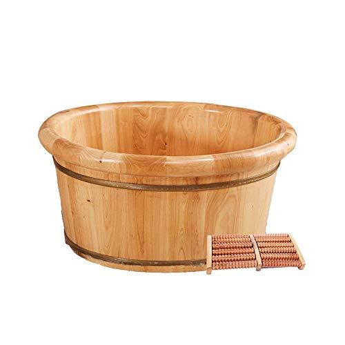 JPL Cubo de baño de pies de madera natural, masajeador de pies eléctrico con tapa, masajeador, baño de pies para baño, ancianos, niños, alivio de fatiga, barril de baño de pies de madera maciza