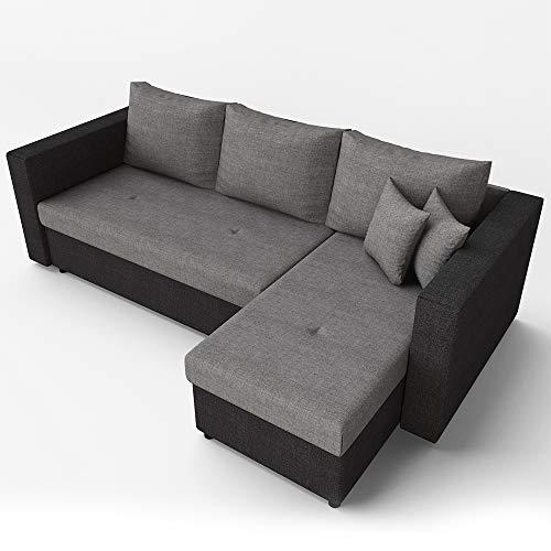 Oskar Ecksofa mit Schlaffunktion Grau Schwarz - Stellmaß: 224 x 144 cm - Liege-Fläche: 200 x 140 cm - Sofa Couch Schlafsofa Polsterecke Bettfunktion