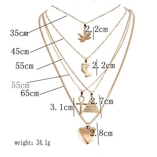 daidai Pirámide Antiguo Egipto faraón Collar Colgante Multicapa señoras Collar de Oro Cadena joyería
