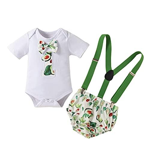 Mameluco de manga corta para bebé y niños, con pantalones cortos y tirantes en Y, 3 piezas, para sesión de fotos, verde claro, 18 meses