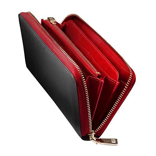 GLEVIO(グレヴィオ) 財布 メンズ 長財布 ラウンドファスナー 小銭入れ ブラック×レッドの画像