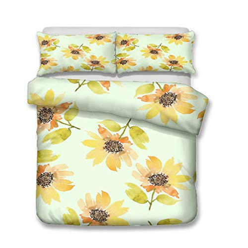 Stillshine Juego de Funda nórdica 3D Flowers Purple Red Blue Brown Beige Juego de Cama King Size Funda nórdica + Funda de Almohada Flor Lateral Ropa de Cama 220x240 cm - Cama 150 cm