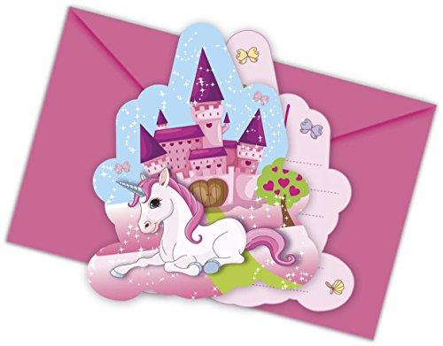 12 pièces ensemble D'invitation Licorne pour Anniversaire d'enfant ou Mottoparty avec 6 Cartons d'invitation, et 6 Envelope Enfants fête D'anniversaire Fille Château De rêve