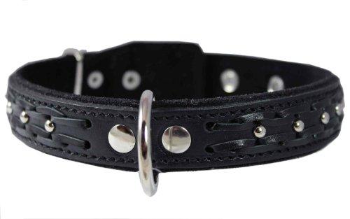 """Hohe Qualität Echt Leder geflochten Zughalsband Hunde Halsband, schwarz 3,2cm breit. Passt 40,6cm 47bis 52° """"Hals."""