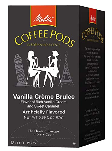 Melitta Coffee Pods, Parisian Vanilla Flavored Coffee, Medium Roast, Single Cup, 18 Count (Pack of 12)