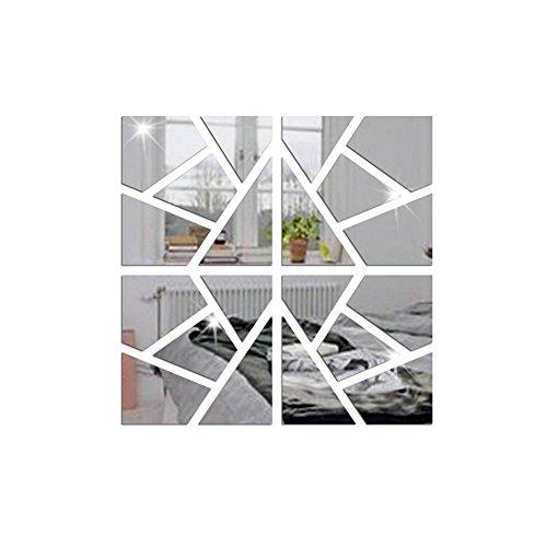 20 Pcs 25 * 25 Cm Miroir, 3D Acrylique Bricolage Décoration Murale Auto-Adhésif Miroir Stickers Muraux Géométrique Salon Chambre Décoration,Silver