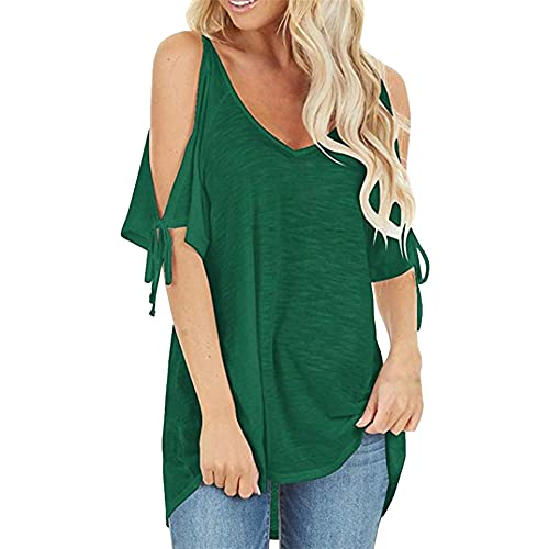Camisetas con Estampado de Leopardo para Mujer Blusa Moda Hombro frío Tops de Manga Corta Camiseta de Manga Corta a Rayas con Costuras Camiseta Holgada fría para Mujer Camiseta Holgada Informal