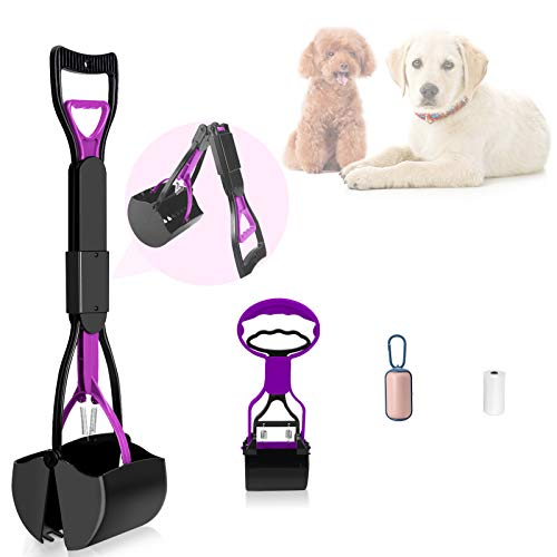 PETRIP 24'' and 11'' Non-Breakable Poop Scooper for Dogs Cats, Foldable Long Handle Portable Dog...