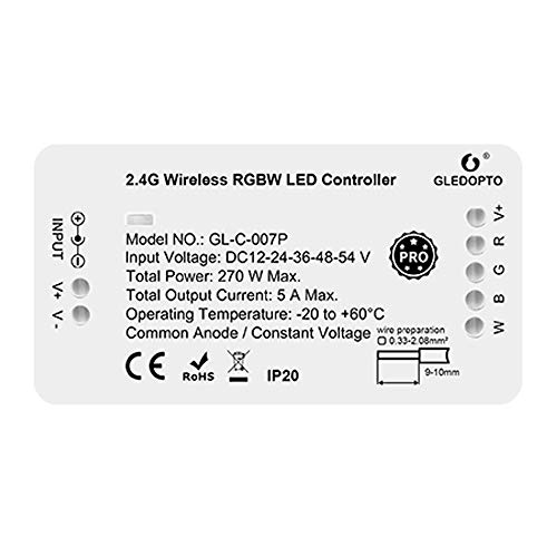 GLEDOPTO LED ZigBee RGBW Controller Steuergerät LED Stripe wie RGB+Warmweiß RGBWW für 12V oder 24V getestet mir Philips Hue*, Alexa Echo Plus, Homee (RGBW Pro Serie 1ID)