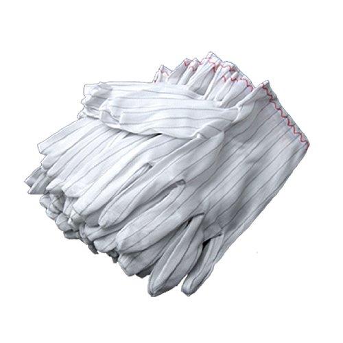 Sourcingmap 20 pcs Stripe électrique Gants de travail antistatiques Blanc