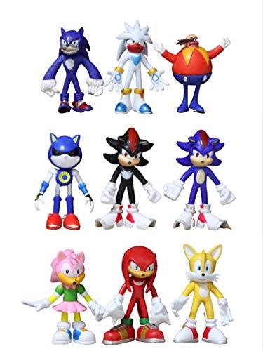 Figura 9 unids/lote figuras sónicas juguete Pvc juguete Sonic Shadow Tails personajes figura juguetes para niños animales juguetes conjunto