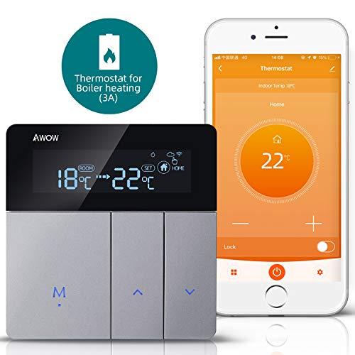 AWOW WiFi Thermostat für Gas/Wasser-Kessel, programmierbare Smart Thermostat mit LCD-Touch-Taste Bildschirm, Fernbedienung über Smartphone mit Google Home Alexa AC220V 3A