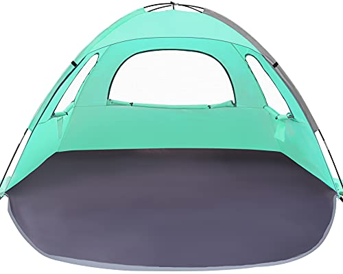 WhiteFang Beach Tent Anti-UV Portable Sun Shade Shelter for 3 Person, Extendable Floor with 3 Ventilating Mesh Windows Plus Carrying Bag, Stakes and Guy Lines (Beach Glass)