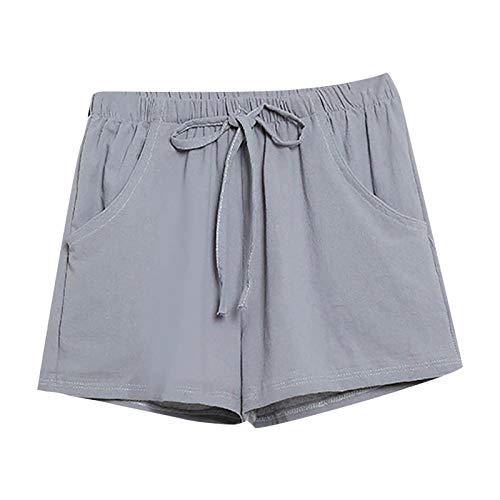 Pantalones Mujer Cortos Verano PAOLIAN Pantalones Sexy Vestir Fiesta Cintura Alta Talla Grande Baratos con Cinturon Casual Pantalones Playa Fiesta