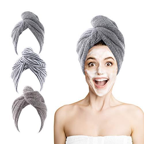 Serviette Cheveux, 3pcs ROSSHINE Serviette Microfibre Cheveux 63 x 25cm Superabsorbants Bamboo Turban Cheveux avec Bouton de Design, Douce & Anti-Frisottis Serviette Cheveux Sechage Rapide