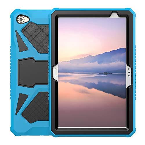 Eastcoo Schutzhülle für Huawei MediaPad M5 Lite 10, 3-Schicht weiches TPU, robuster & Harter PC-Ständer Ständer Stoßfester Beweis Hybrid Heavy Duty Silikonhülle für Kinder (Blau Schwarz)
