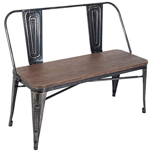 ZXJUAN Rustieke Vintage Stijl Distressed Eettafel Bank Met Houten Stoelpaneel En Metalen Rugleuning & Benen Meubelstoel Home Office Stoel