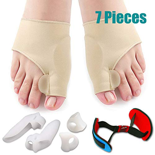 Bunion Corrector & Bunion Relief Protector Sleeves Kit - Treat Pain in Hallux Valgus, Big Toe Joint, Hammer Toe, Toe Separators Spacers Straighteners Splint Aid Surgery Treatment(7Pcs)