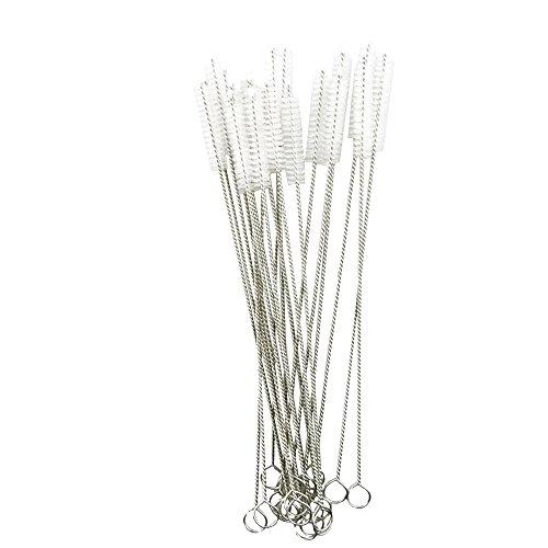 Honbay Straw Cleaner Brushes, nylon bristles stainless steel handle, Nylon Skinny Pipe Tube Cleaner - 20 Piece Value Pack - 7 mm bristles x 175mm long