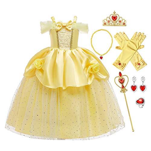 FMYFWY Niñas Vestidos de Belle Disfraz de Carnaval Princesa Cumpleaños Traje de Halloween Navidad Ceremonia Aniversario Bautizo Fiesta de Cosplay Bella y Bestia Costume con Accesorios 3-4