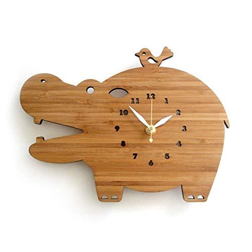 Reloj de Pared en Hogar y Cocina Reloj de pared natural de relojes de madera, decoración de la pared del hipopótamo animal simple creatividad adornos colgantes de Vida Oficinas Sala de 12 pulgadas