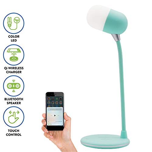 Charger Dock Blue Tooth tafellamp 3-in-1 wireless charging pad/Bluetooth luidspreker/barnsteen en wit LED-licht met Touch Control Dimmer/draagbare lamp Ontwerp/USB Powered Lamp