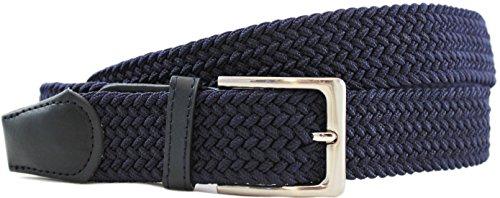 Safekeepers - Komfortabler Stretchgürtel - Elastischer Stoffgürtel - Geflochtener Stretch Gürtel - Stretchbelt - Dehnbarer Gürtel mit PU Leder für Damen und Herren (100 B.W. / 115 cm) - Blau