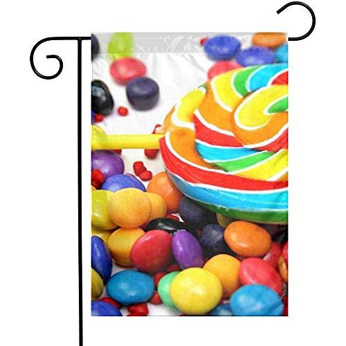 qinzuisp Vlag Kleurrijke Regenboog Snoepjes Lollipop Tuin Vlaggen Huis Binnen Outdoor Welkom Familie Decoratieve Yard Decoraties Dubbelzijdig Spel Party Banner