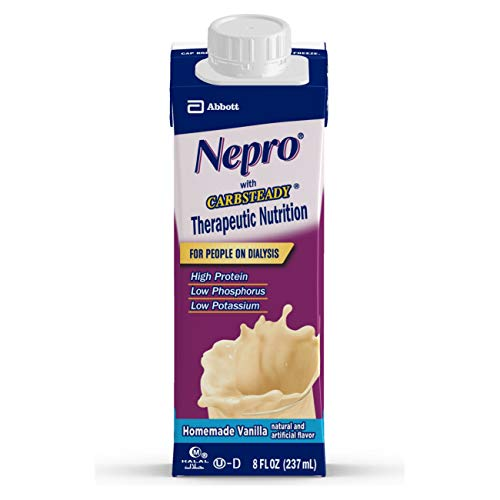 Nepro Nutrition Shake for People on Dialysis, with 19 Grams of Protein, 420 Calories, Vanilla, 8 fl oz, 24 Count