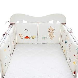MJL 6 Piezas Protector de Cuna Ropa para Cuna de Algodón Suave Camas de Bebé Protector para Bordes con Patrón de Animales para Proteger Bebé