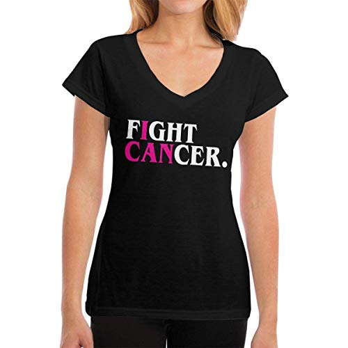 ELINELIN Womens Generic T-Shirt Fight Cancer Short Sleeve Tops Leisure V-Neck tee