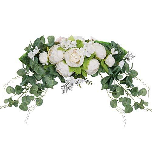 Domilay Flor de PeoníA Artificial Swag Floral Puerta Swag Guirnalda Swag Ramita para la DecoracióN de la Puerta de la Ventana de la Pared del Arco de la Boda en Casa