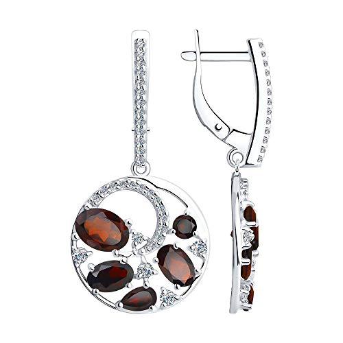 Mirkada - Pendientes de plata para mujer, con granate y circonitas, color rojo