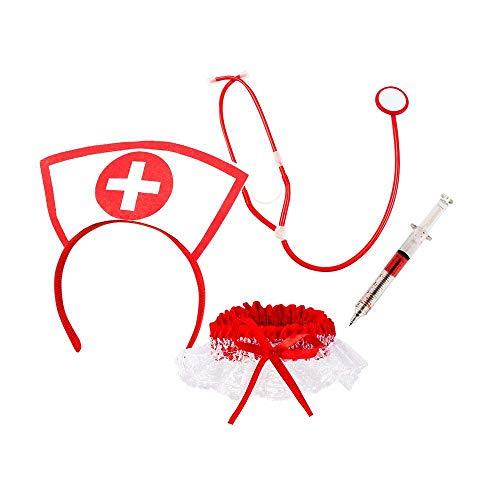 Boland 44803 - Juego de enfermera sexy, con diadema, estetoscopio, liguero y jeringuilla, médico, médico, profesional, disfraz, fiesta temática, carnaval