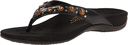 Vionic Women's Rest Floriana Toepost Sandal - Ladies Flip flops with Concealed Orthotic Support Black Croco 9 M US