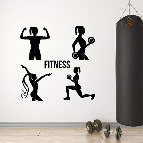 JXCDNB Gym Club Fitness Girls Salud Ejercicio Sport Decor Vinilos Decorativos Vinilo Murales Interiores Transferencia extraíble Film Cut Decals A487 en AliExpress 57x57cm