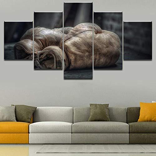 CGHBDOP Leinwandbild 5 Teile Wand Bild Wandbilder Kunstdruck Altmodischer Boxhandschuh XXL 150X80 cm Wohnzimmer Deko